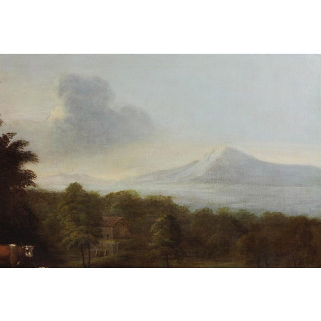 Mid 18th Century Georgian Giltwood Overmantle Mirror with Oil on Canvas Pastoral Scene Painting For Sale - Image 5 of 11