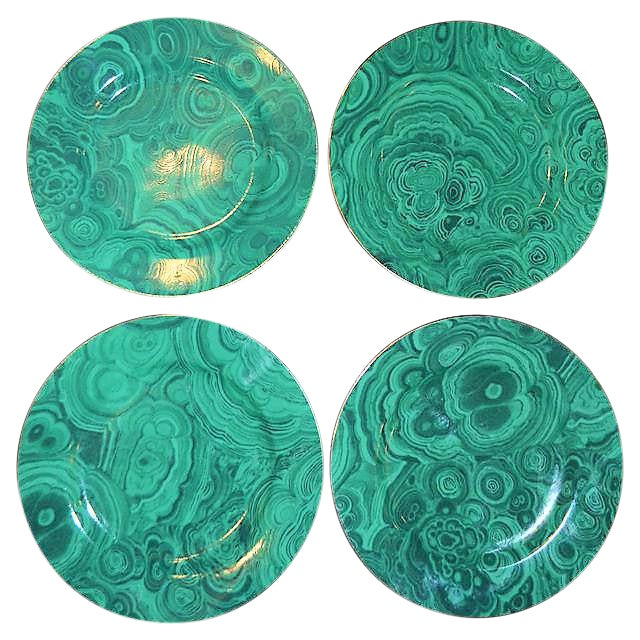 Traditional Malachite Plates - Set of 4 (Neiman Marcus) - Image 7 of 7