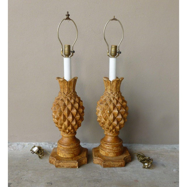 1970s Italian Haute Design Carved Wood Pineapple Lamps - a Pair For Sale - Image 9 of 9
