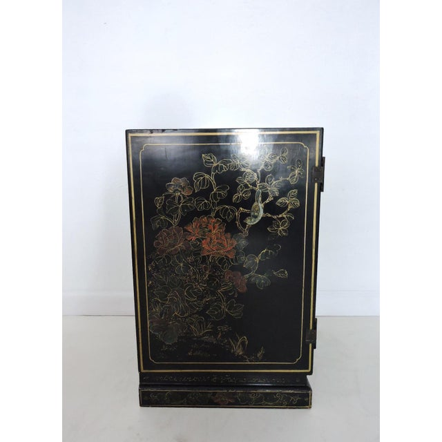 Asian Black Oriental Lacquered Cabinet & Lock For Sale - Image 3 of 6