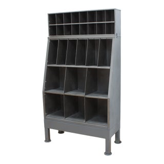 Mid Century Post Office Mail Sorter- Industrial Steel Postal Cabinet For Sale