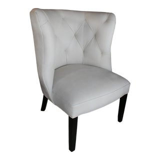 Marvell Ivory Leather Goodman Chair For Sale