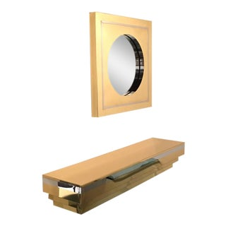 Brass and Chrome Wall-Mounted Console and Mirror by Curtis Jere For Sale