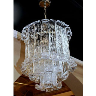 1970s Italian Murano Mazzega Clear Textered Glass Chandelier Preview