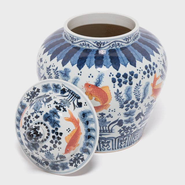 Early 21st Century Underglaze Indigo and Copper Fish Jar For Sale - Image 5 of 7