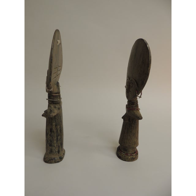 Abstract Akua'ba Fertility Dolls With Glass Beads Adornments For Sale - Image 3 of 7