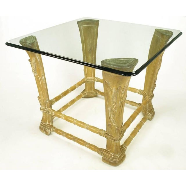 Limed Alder Center Table with Carved Wheat Relief and Glass Top - Image 4 of 10