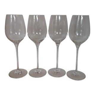 1980s Signed Oleg Cassini Crystal Wine Glasses - Set of 4 For Sale