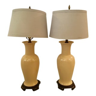 Ceramic Mid-Century Asian Style Lamps - A Pair For Sale