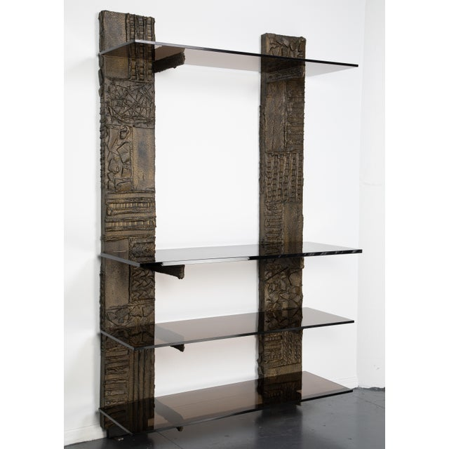 Stunning Paul Evans wall-mounted étagère from the Sculpted Metal collection for Directional Furniture. The unit features...