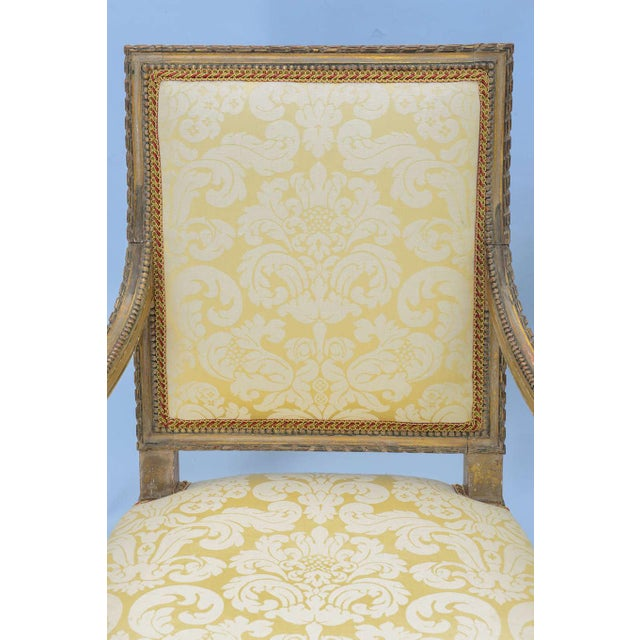Fabric Pair of Early 19th Century Louis XVI Fauteuils For Sale - Image 7 of 10