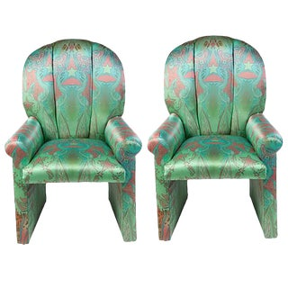 Milo Baughman Scallop Back Chairs - A Pair For Sale