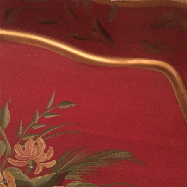 Antique Floral Tole Tray - Image 5 of 7