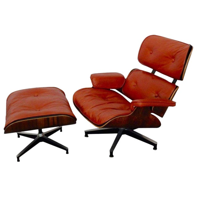Eames for Herman Miller Rosewood With Red Leather 670 Lounge Chair and Ottoman For Sale