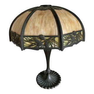 Antique 1900s Wilkinson Arts and Crafts Pine Cone Panel Table Lamp For Sale
