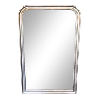 Large French Style Louis Philippe Silver Leaf Mirror For Sale