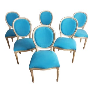 Set of 6 Vintage French Reupholstered Blue Turquoise Louis XVI Medallion Dining Chairs For Sale