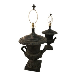 Vintage French Black Urns Table Lamps -A Pair For Sale