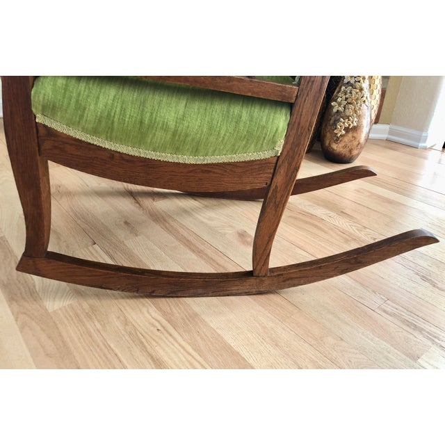 Late 19th Century Antique Oak Wood Mortise and Tenon Upholstered Rocking Chair For Sale - Image 11 of 13