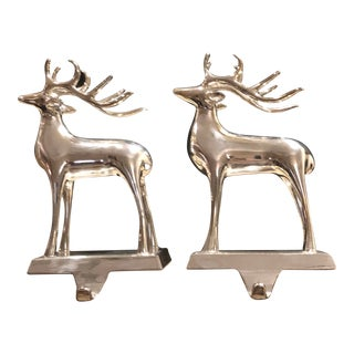 Vintage Solid Reindeer Stocking Hooks Silver Plated Pair For Sale