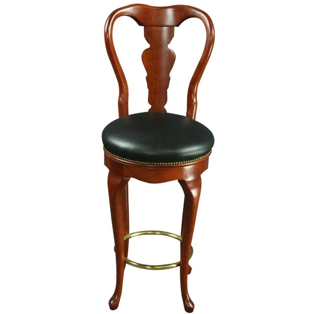 Queen Anne New Bar Stools Mahogany/Faux - A Pair - Image 3 of 6