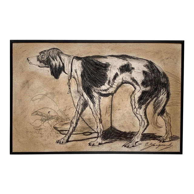 1950s Oversized Framed Original Charcoal Dog Portrait Drawing For Sale