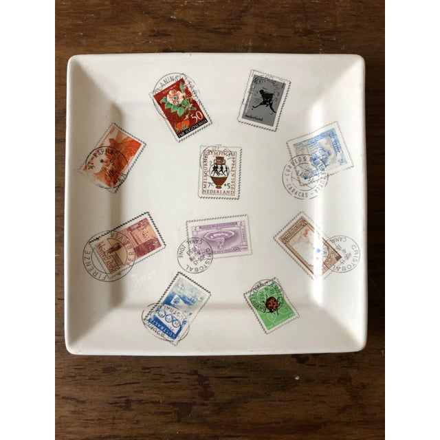 Mid Century Italian Postage Stamp Plate For Sale - Image 5 of 5