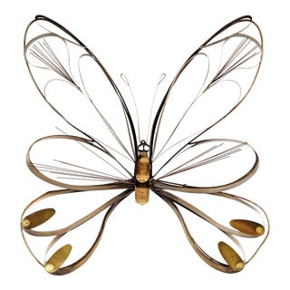 1974 Mid-Century Modern Brass Butterfly Wall Sculpture For Sale