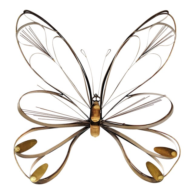 Curtis Here 1974 Mid-Century Modern Brass Butterfly Wall Sculpture For Sale
