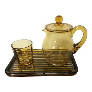 Vintage Amber Pressed Glass Bedside Water Set of 3 For Sale