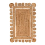 Image of White Trim Jute Scallop Braided Handmade Rug For Sale