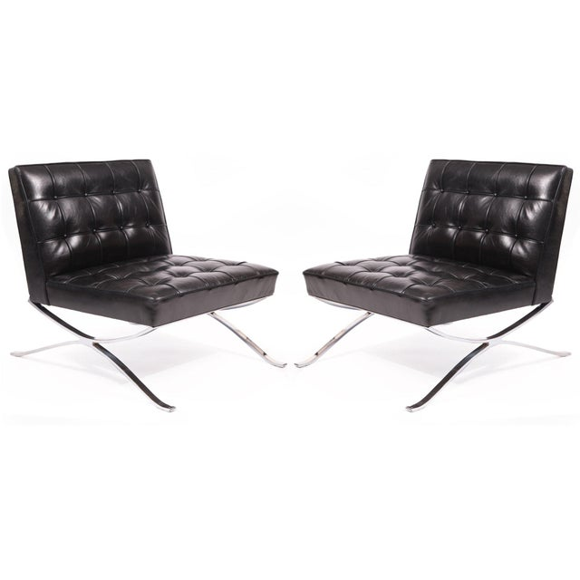 Black Rare Pair of Steel and Leather Lounge Chairs by Hans Kaufeld For Sale - Image 8 of 8