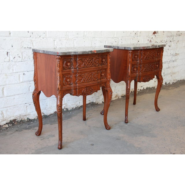 French Carved Louis XV Style Marble Top Nightstands - A Pair For Sale - Image 3 of 10
