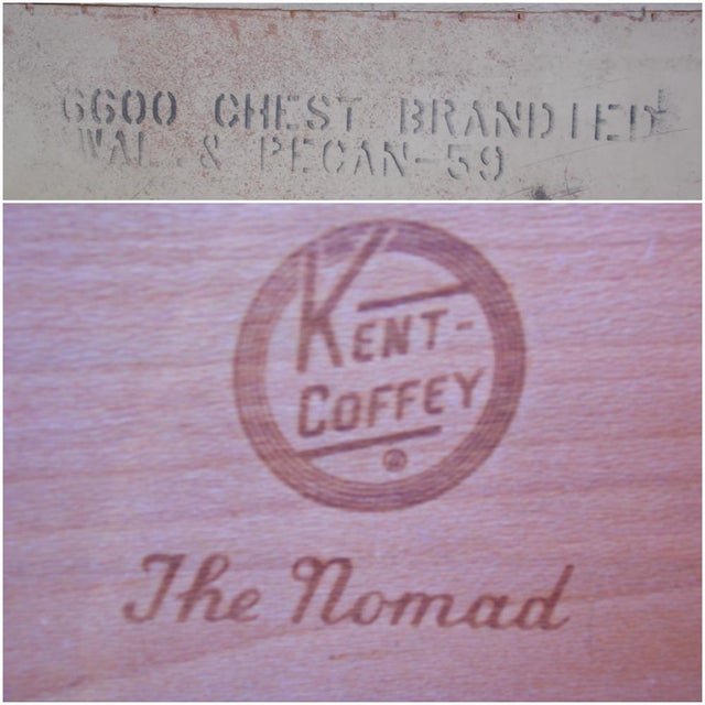 Vintage Mid Century Modern Kent Coffey Walnut Highboy Dresser Chest the Nomad For Sale - Image 12 of 13
