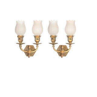 Antique Brass Sconces with Hand-Blown Glass Fear Shades (Ca.1910) - a Pair For Sale