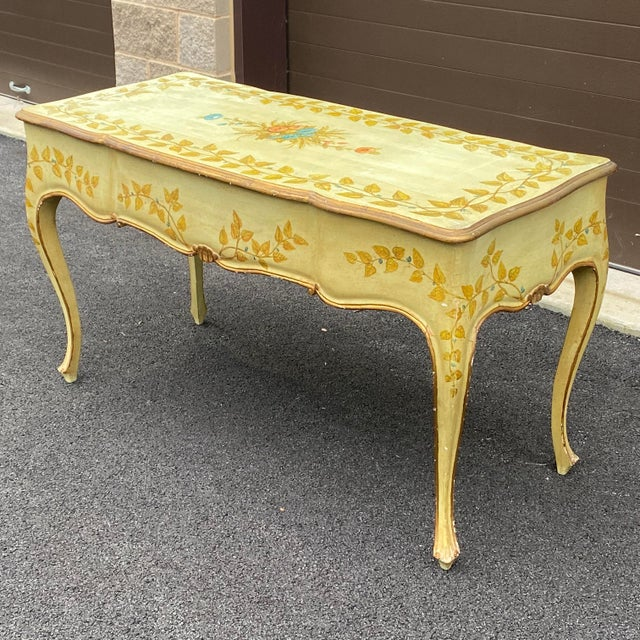 Paint Distressed French Provincial Painted Desk For Sale - Image 7 of 13