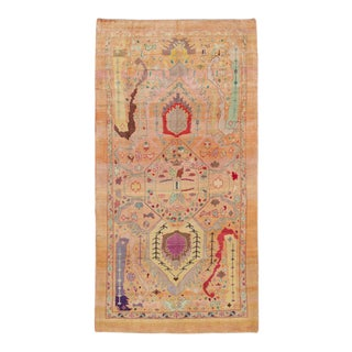 Modern Handmade Peach Color Hand Made Wool Rug For Sale