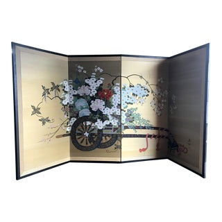 1920s Asian Room Screen, Signed, Silk Screened Gold Silk with Wood Frame