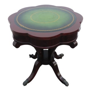 Flame Mahogany Serpentine Leather Top Round Center Side Table For Sale
