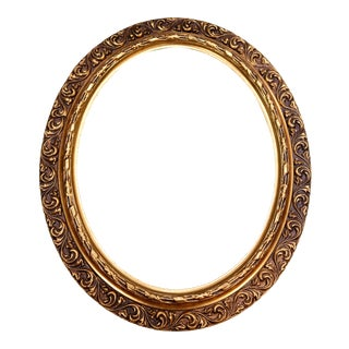 Vintage French Hand Carved Gold Gilt Oval Picture Frame For Sale