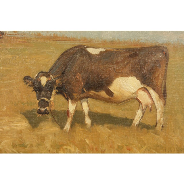 Realism Late 20th-Century Realist Oil Painting of Cows Grazing in a Field by S?ren Edsberg Andersen For Sale - Image 3 of 6