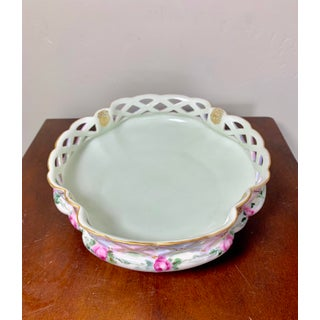 Antique Limoges Hand Painted Cutout Bowl With Pink Roses and Gilt Accents Preview