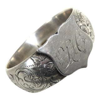 Antique 1850s American Coin Silver Wedding Napkin Ring For Sale