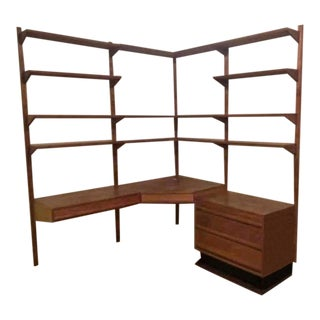 Vintage Mid Century Modern Four Row Corner Hanging Wall Unit Two Desks File Cabinet For Sale
