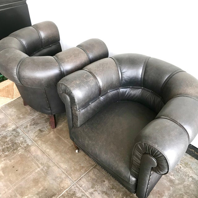 1920s Antique Black Leather Club Chairs- A Pair For Sale - Image 9 of 10