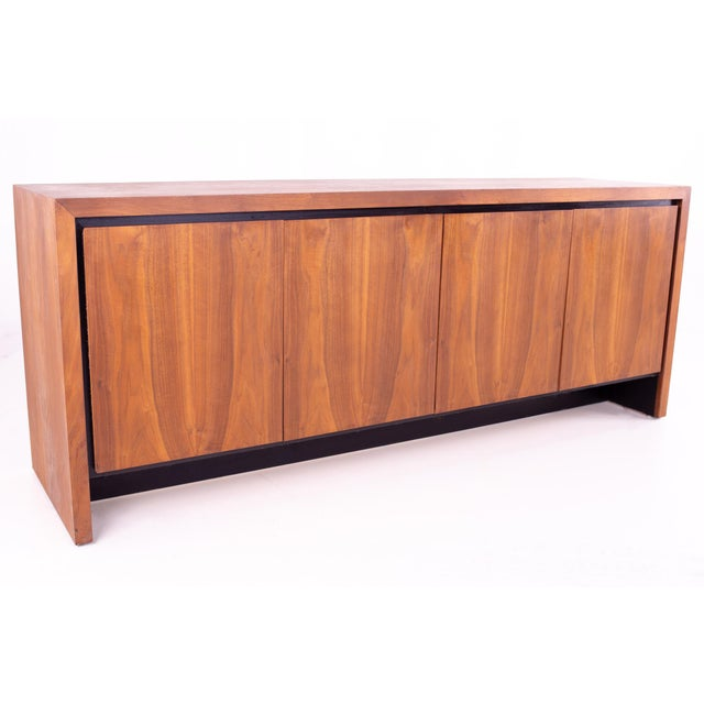 Milo Baughman for Dillingham Mid Century Bookmatched Walnut Sideboard Buffet Credenza 74 wide x 19 deep x 29.25 high
