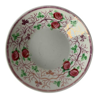 Antique English Lustreware Berry Motif Trinket Dish For Sale