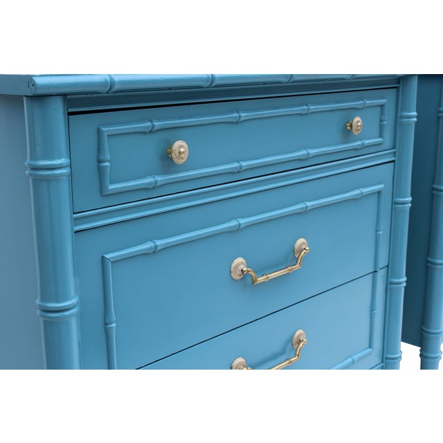 Pair of Hollywood Regency faux bamboo chests by Thomasville, each newly lacquered in a blue / turquoise. Original laminate...