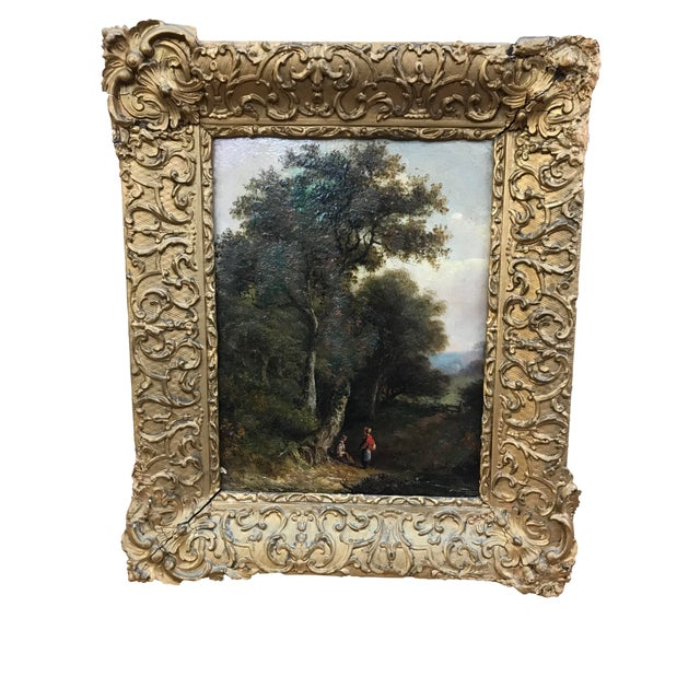 19th Century Pastoral Landscape Oil on Board Painting, Framed For Sale - Image 10 of 10