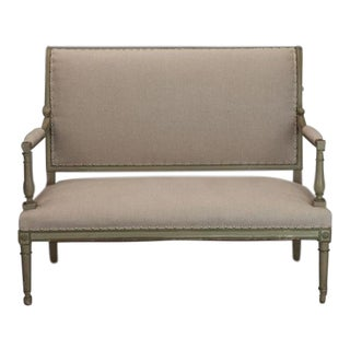 French Empire Style Painted Settee With Neutral Upholstery For Sale